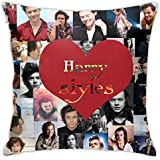 ZAZAHUI Lovely Harry Styles Pillow Case Casual Pillowcase Custom Cotton & Polyester Soft Square Zippered Cushion Throw Case Pillow Case Cover 18X18 (Twin Sides)
