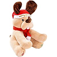 svitlife Ginger Holiday Animated Plush Singing peek-a-booクリスマス犬Plush Animated SingingクリスマスSingsぬいぐるみ犬Dancingおもちゃ動物Gemmy