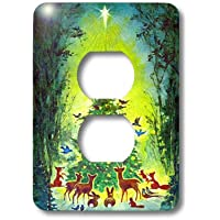 3dRose lsp_9221_6 クリスマスツリーアニマルプラグ アウトレットカバー