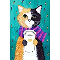 ZDDYX ダイヤモンド塗装漫画猫フルダイヤモンドDIYダイヤモンド塗装クロスステッチ刺繍ホームデコレーションクラフト リビングルームの寝室のアートクリスマスプレゼント40X50CM