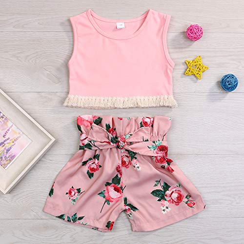 YOUNGER TREE Toddler Kids Baby Girl Short Set Tassels Vest Top + Floral Shorts Clothing 2Pcs Summer Outfit - Pink - 5-6 Years