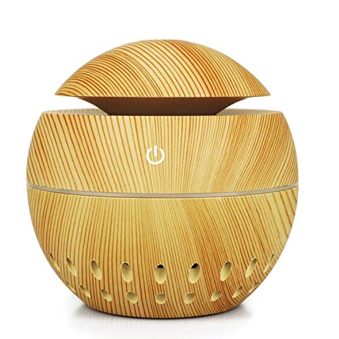 アノイふくろう動機加湿器USBウッドグレイン中空加湿器きのこマシン総本店小型家電、ブラウン (Color : Brass)