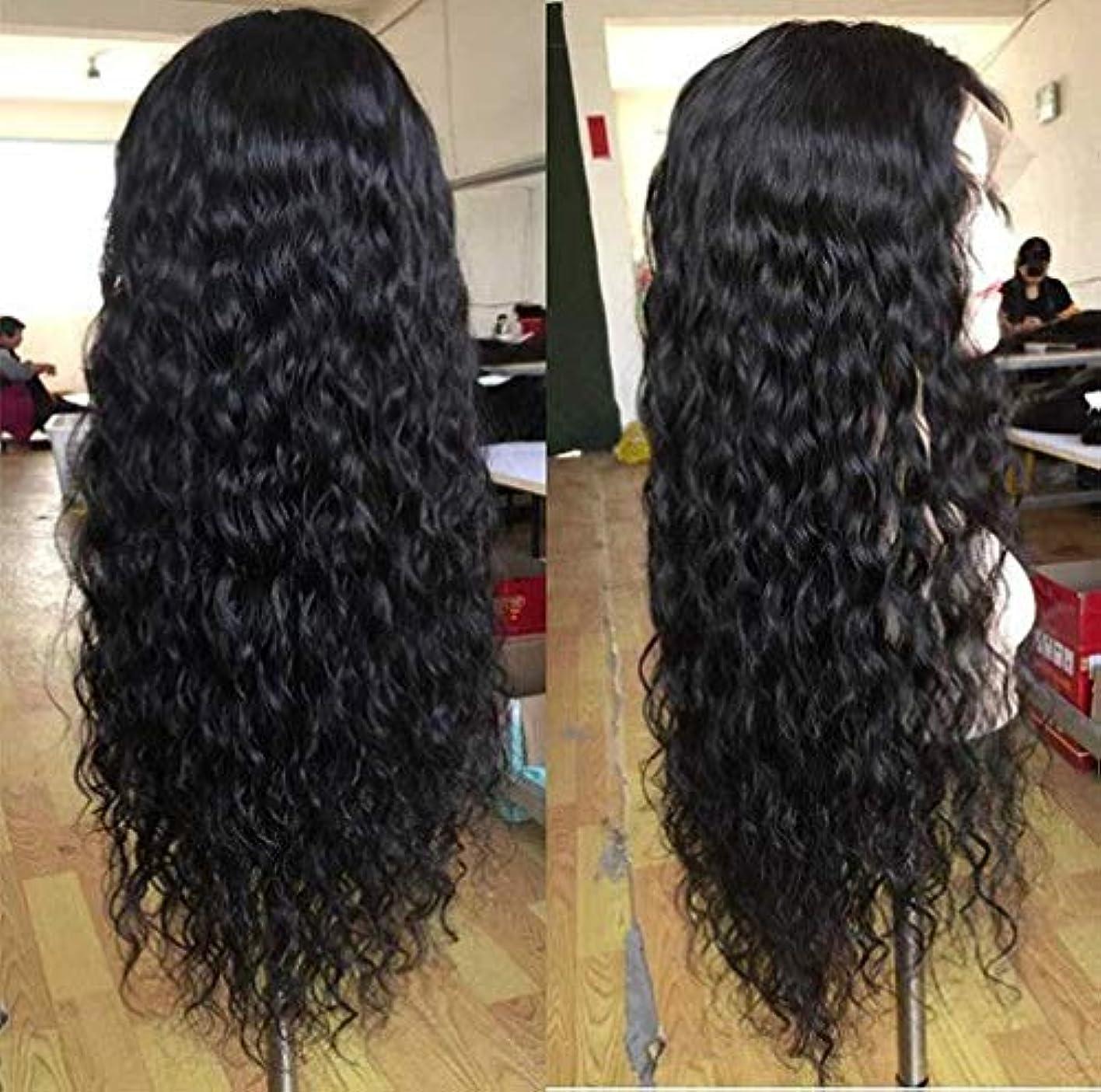 嵐が丘公爵夫人なかなか女性かつらブラジルレース前頭ディープウェーブヘアウィッグレースフロント人間の髪かつらベビー髪ショートレミー150%密度