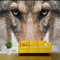 Wxmca ぬいぐるみオオカミ動物3D壁の壁画用壁紙リビングルームのソファの背景3D写真の壁画3Dウォールステッカー-250X175Cm