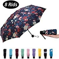 NOOFORMER Mini Travel Sun & rain Umbrella (8 Rids)- Light Compact & 95% Anti-UV