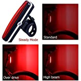 USB Rechargeable LED Bike Tail Light Waterproof Powerful LED Bicycle Rear Light Easy Install on Bicycles Helmets Safety Taillight 6 Modes for Optimum Cycling Safety