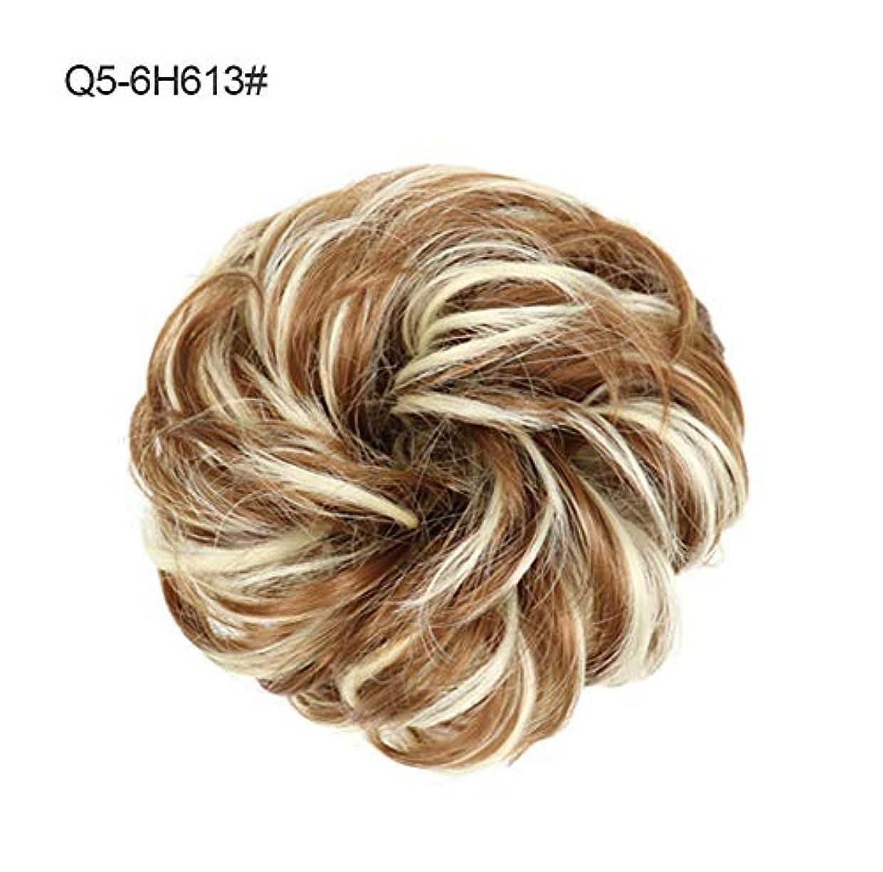 割れ目布カジュアル乱雑なポニーテールシニョンドーナツ拡張機能、女性のためのシュシュ髪お団子巻き毛波状リボンアクセサリー