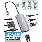 USB C Hub, Yeeliya 9-in-1 USB Type C Hub Adapter with 4K HDMI/VGA Port,3 X USB 3.0 Ports, SD&Micro SD Card, 3.5mm Audio Port, PD Charging for MacBook/Pro Huawei Matebook Samsung S8/S9