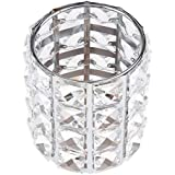 Blesiya Crystal Makeup Brush Holder Bling Bling Comb Cosmetic Display Organizer Jar Round, 3.35x4.21inch, Dressing Table Accessories for Bathroom, Bedroom - Silver