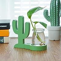 植木鉢 ガラスプランターミニ植木鉢デスクトップフラワー花瓶エアプラントテラリウム植物コンテナ (Color : Green, Size : S)