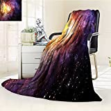 """Throw Blanket and Stars in Magical Midnight Sky Starry Night with Clouds Milky Way暖かいマイクロファイバーすべてシーズン毛布ベッドやソファ 31.5""""x51"""""""