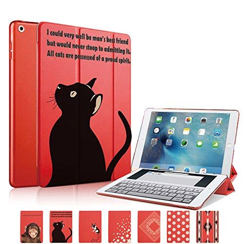 MIxUP iPad 9.7 ケース カバー 2018 2017 新型 アイパッド 第5 第6世代 スマートカバー 新型iPad オートスリープ スタンド ケースカバー 黒猫 ネコ 猫 レッド 赤 MXP-sm5-bkcat/RD