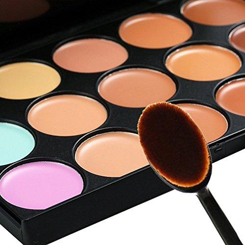 化粧品オーバルとBoolavard®プロ15色のコンシーラーカモフラージュ輪郭アイフェイスクリームメイクアップパレットブラシメイクアップ(15色)