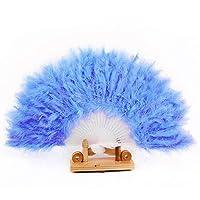 SGings 女性のハンドヘルドファンフェザーファン用ダンス小道具ハンドグースフェザー折りたたみファンウェディングダンスパーティーウエディング伝統的な絶妙なギフトパーティーの装飾 (青)