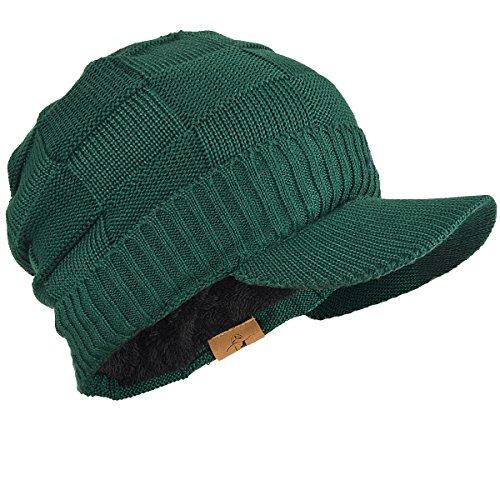 FORBUSITE つば付きニット帽 メンズ レディース ニット帽 裏起毛 防寒 厚手 B322 (グリーン)