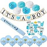 男の子用ブルーベビーシャワーデコレーション It's A Boyバナー ペーパーティッシュポンポン 花 サッシになるマミー プレミアム品質バルーン ベビーシャワー 男の子 装飾