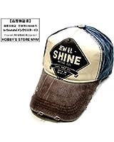 In Cristallo(インクリスターロ) JEWEL SHINE ヴィンテージ風 ベースボールキャップ ロゴプリント 野球帽 ダメージ・汚れ加工済み アメリカン カジュアル 帽子 ファッション小物・雑貨 メンズ 多バリエーション (JEWEL SHINE ネイビー×ブラウン)