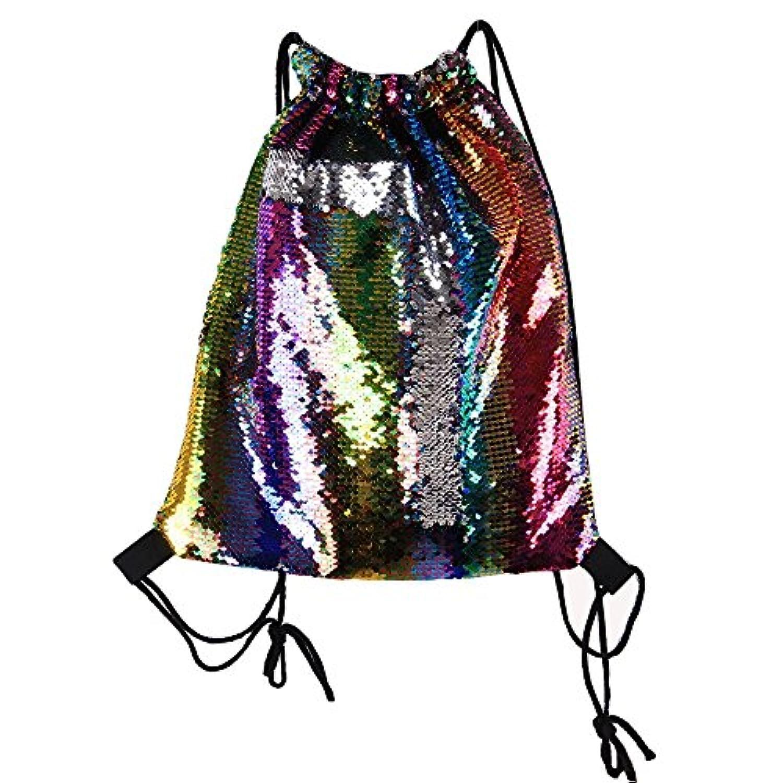 MXIKU マーメイドスパンコールドローストリングバッグバックパック、ダンスバッグファッションダンスバッグビーチハイキングショルダーバッグ (Color : Multi-colored)