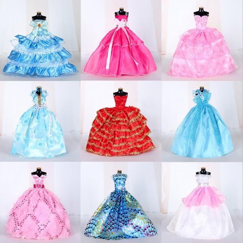 5個のプリンセスウェディングドレスためにバービー人形(ランダム)