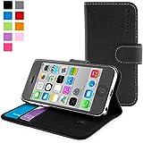 英国Snugg製 iPhone 5C 用 PUレザー手帳型ケース 生涯補償付き(ブラック)