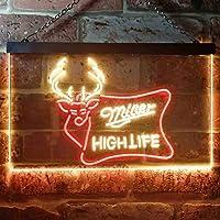 Miller High Life Deer Hunt LED看板 ネオンサイン バーライト 電飾 ビールバー 広告用標識 レッド+イエロー W30cm x H20cm