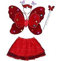 スピナス ハロウィン 子供用 コスチューム チュチュ パーティー 蝶々 衣装4点セット (スカート+羽根+カチューシャ+スティック)