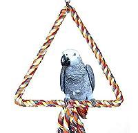 オウムの鳥のスタンドバー、スイベルのはしご咬合チェウチェイトライアングルスイングカラーコットンロープ抱き上げクライムミルビーク鳥かご上昇駅の供給コッカーティーケージハンモックペットのおもちゃ