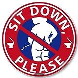 座りション トイレステッカー 立たないでジョ~!(小便小僧/レッド) トイレ ステッカー 立ちション禁止 座って 座る マナー シール 掃除 メイヴルアットホーム