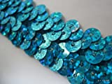 No.1177手芸用スパンコールブレード(ラメ有り)青色(ブルー)幅2cm×3m巻き