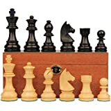 German Knight Stauntonチェスセットin Ebonized Boxwood & Boxwood withマホガニーボックス – 3.25
