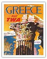 """ギリシャ–Trans World Airlines Fly TWA–コリント式スタイルギリシャコラム–ビンテージAirline旅行ポスターby David Klein c.1959–Fineアートプリント 11"""" x 14"""" APB3154"""