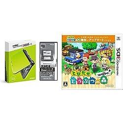 【Amazon.co.jp限定】 【液晶保護フィルムEX付き (気泡軽減タイプ) (任天堂ライセンス商品) 】New ニンテンドー3DS LL ライム×ブラック + とびだせ どうぶつの森 amiibo+ (「『とびだせ どうぶつの森 amiibo+』 amiiboカード」1枚 同梱) - 3DS セット
