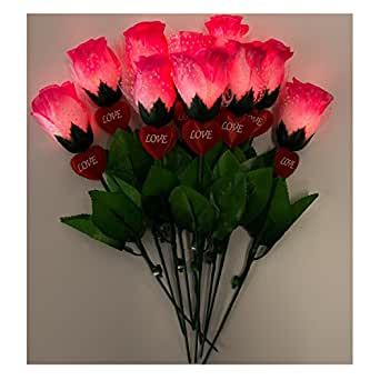 Hirayuki 光るバラ 10本セット バラ レッド ブルー ピンク サプライズ 演出 デート 告白 結婚式 クリスマス パーティ LEDスイッチ式 造花 花束 製品保証付 Pink 10本