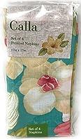Elrene Calla Lillyトロピカル花柄ファブリックナプキン、4のセット