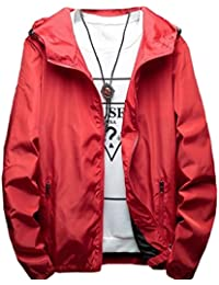 Keaac メンズロングスリーブジャケット軽量フードジャケットコート Red XXS