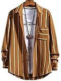 [ラッキーチャーム] 長袖 ストライプ レギュラーカラー カジュアルシャツ ワイシャツ ビジカジ メンズ