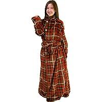 アイリスプラザ 毛布 着る毛布 180cm丈 ルームウェア フランネルマイクロファイバー とろけるような肌触り 静電気防止 洗える ブラウン×レッド