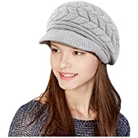Glamorstar Winter Knit Hat Stretch Warm Beanie Ski Cap with Visor for Women Girl