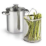 クック N ホーム 2478年 3 ピース アスパラガス 野菜 蒸し器 鍋 、 4 クォート 、 ステンレス 鋼