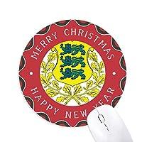 エストニア国家エンブレムの国 円形滑りゴムのクリスマスマウスパッド