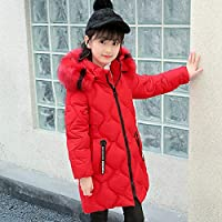 Winter Warm Down Jacket Children's Clothing Girl Winter Warm Big Fur Coat 5-13 Years Old Thick Hooded Cotton Long Long Solid Color Coat