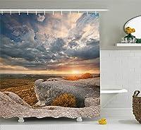 Yeussマウンテンシャワーカーテン、自然の風景秋の風景劇的なCloudscape岩の形成、フック付きファブリックバスルームの装飾、キャラメルブルーグレー