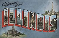 Greetings from Illinois (ブルー) 16 x 24 Giclee Print LANT-6851-16x24