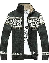 Inlefen 秋と冬の服メンズプリントスタンディング襟ジッパーカーディガンセータートップセータースリムフィットコート
