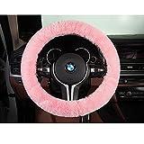 HAOCOOシープスキン車ハンドルカバーwithソフトと暖かいウールほとんどの車 ピンク