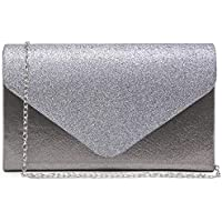 Dasein Evening Envelope Bag for Women Glitter Frosted Clutch Handbag with Detachable Chain Strap Party Bridal Wedding