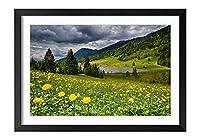 木製の枠 ズックの印刷する絵画 家の壁の装飾画 ポスター (35x50cm) 空の雲、花、草、山、湖