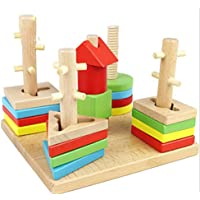 toymytoy木製Shape Sorterボード幾何スタックToy Montessori建物ブロックおもちゃ