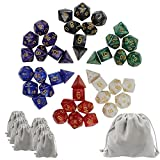 JPSOR 6*7(42個セット)高品質ゴールドオイル多面体ダイス 6色 6個小さなダイスバッグと1個大きな高品質ベルベットバッグ付き trpg ボードゲーム サイコロ