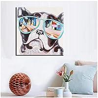 抽象動物キャンバス絵画かわいいパグとカラフルなメガネデジタルプリントポスターウォールペインティング用ベビーベッドルーム家の装飾(フレームなし)70x70cm